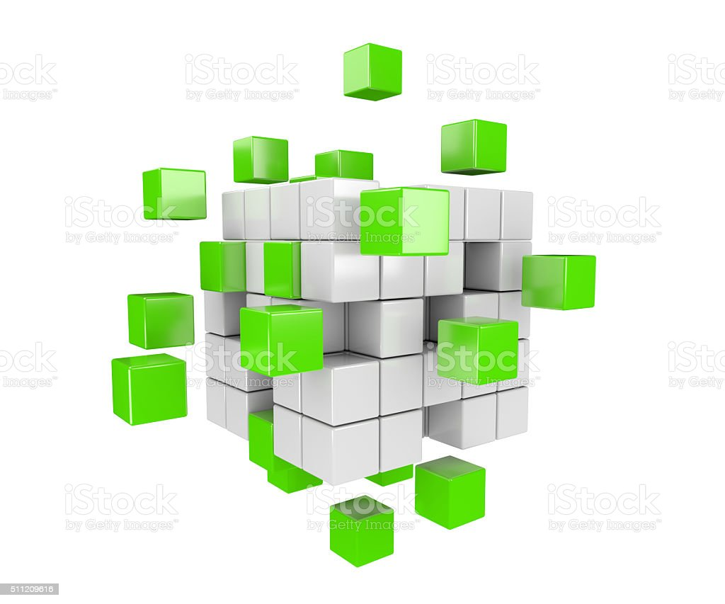 3D green and white cubes stock photo