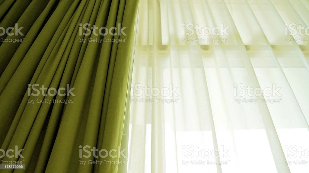 green and white curtain stock photo