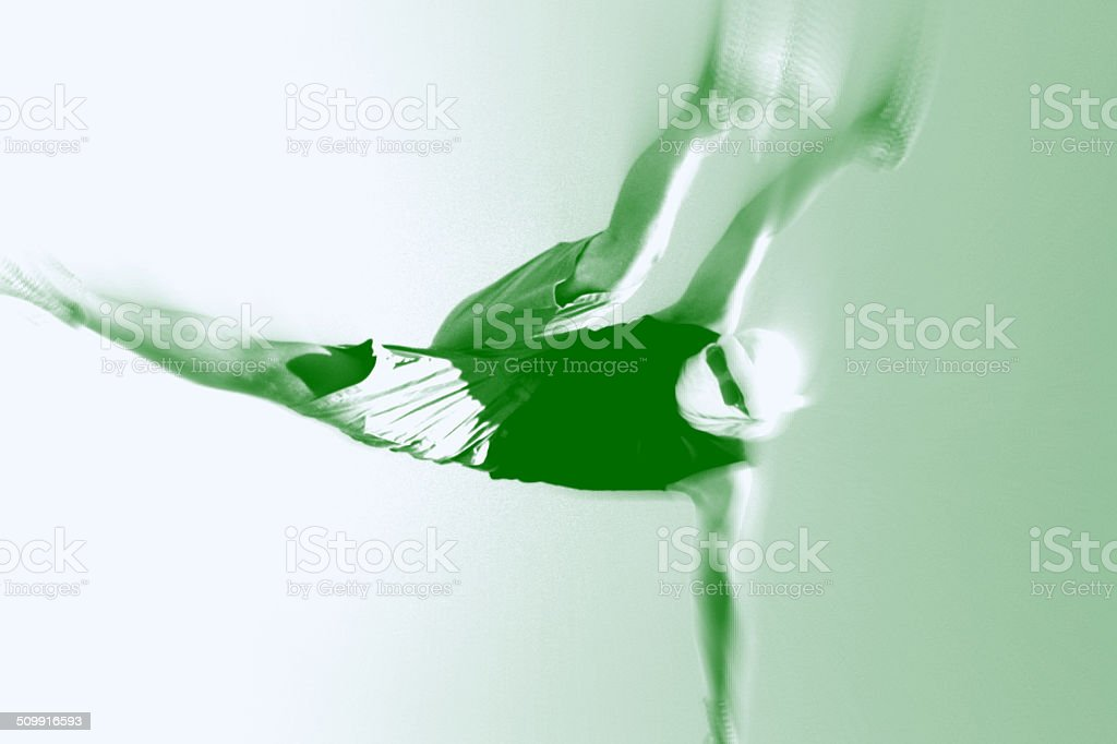 Green and white duotone photo of man breakdancing vector art illustration
