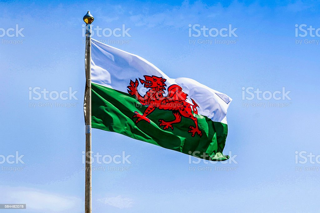 Green and white Welsh flag with the red dragon stock photo