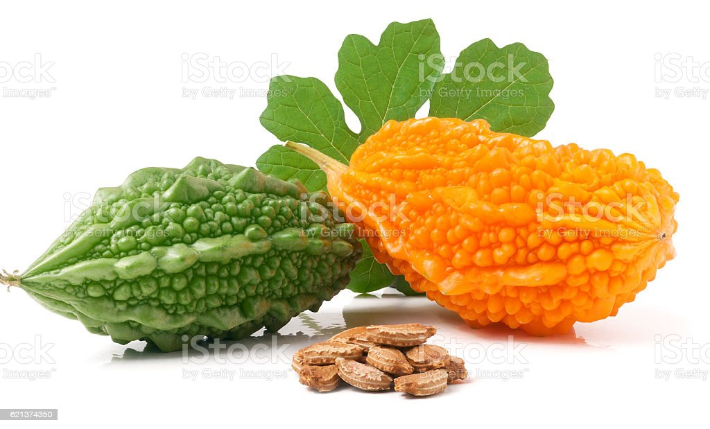 green and yellow bitter melon or momordica with leaf isolated stock photo
