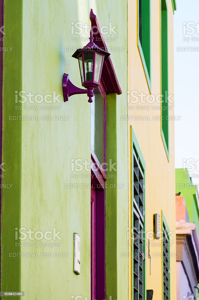 Green and Yellow Fascades, Malay Quarter, Cape Town, South Africa stock photo