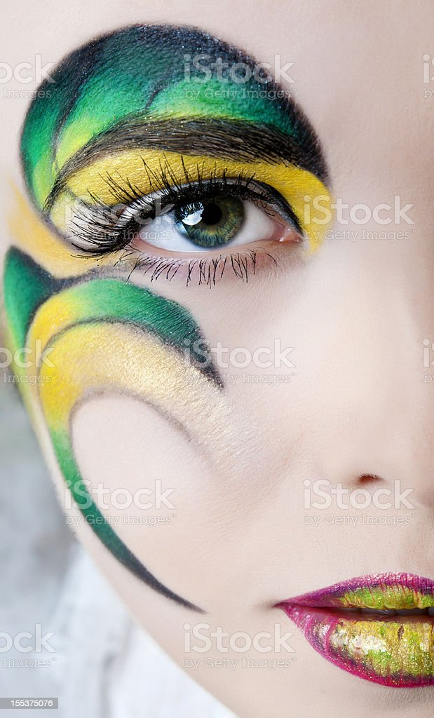 green and yellow makeup royalty-free stock photo