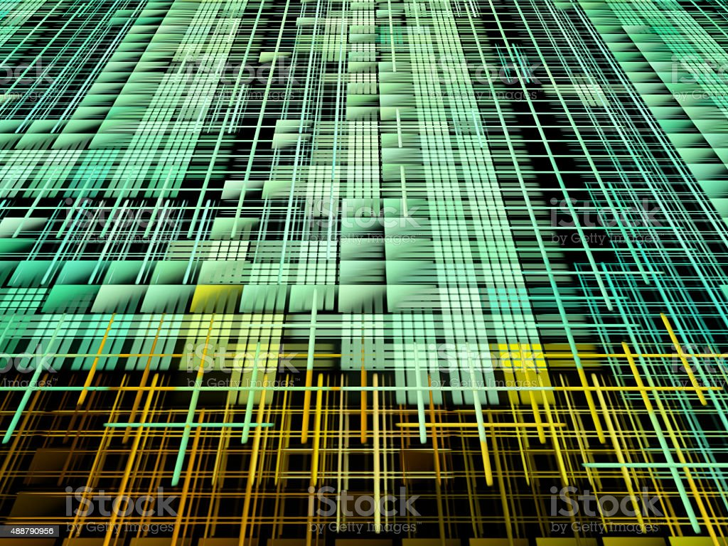 Green and yellow matrix abstract background stock photo