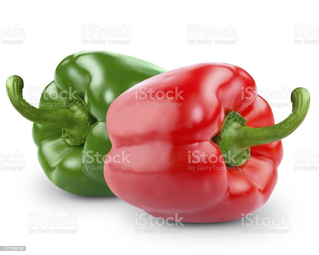 green and yellow peppers royalty-free stock photo