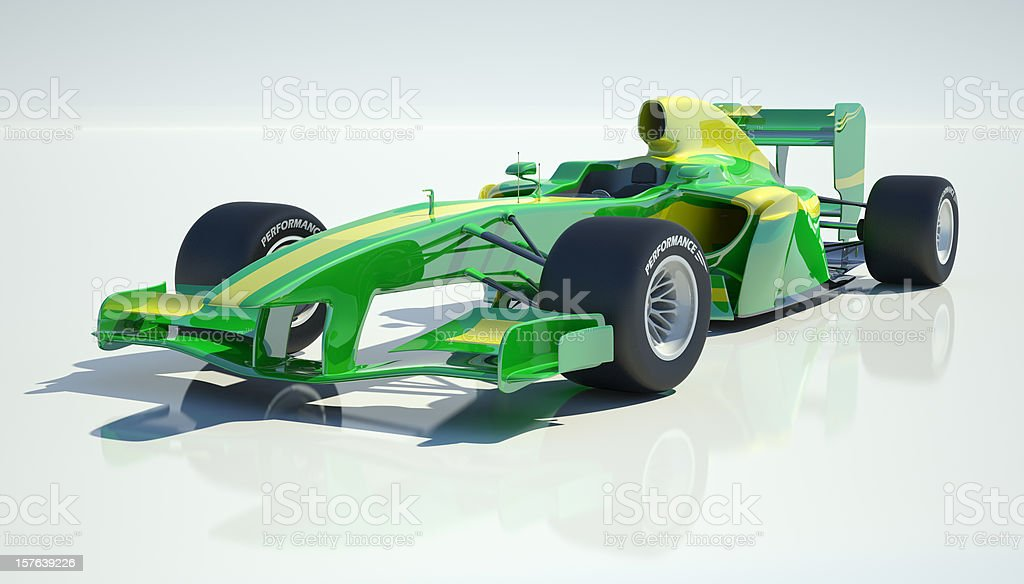 Green and yellow racing car in white background stock photo