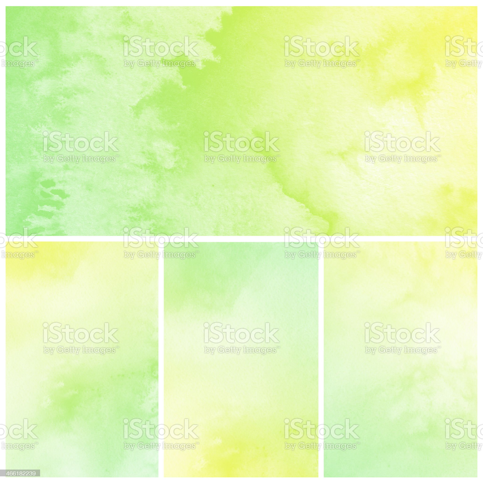 Green and yellow watercolor abstract pictures royalty-free stock vector art