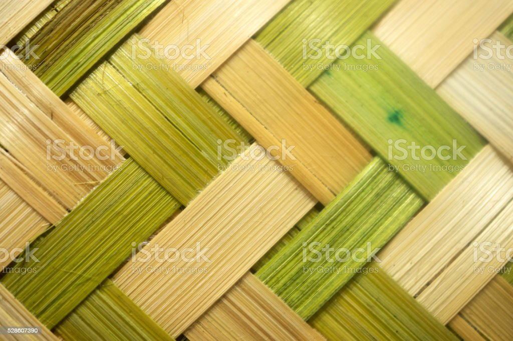 green and yellow wicker weave texture stock photo