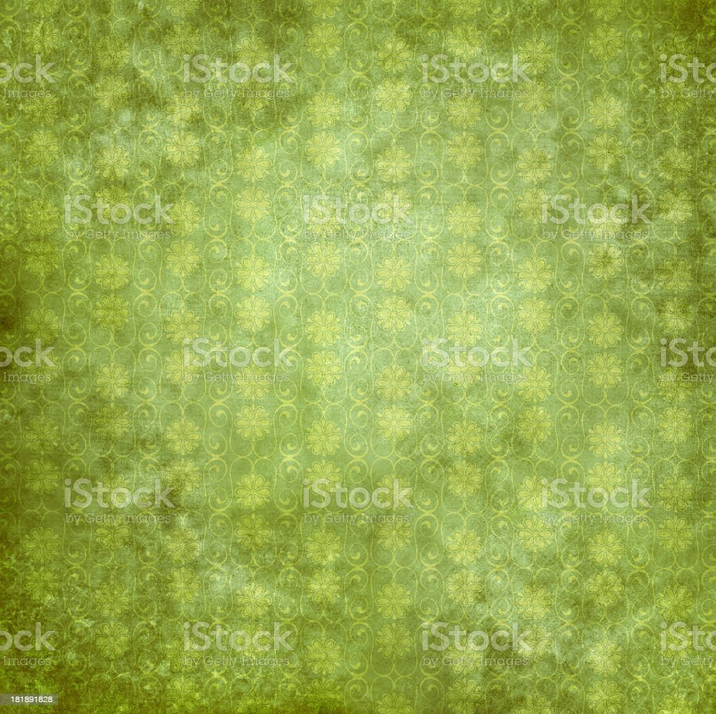 Green Antique Wallpaper With Flowers royalty-free stock photo