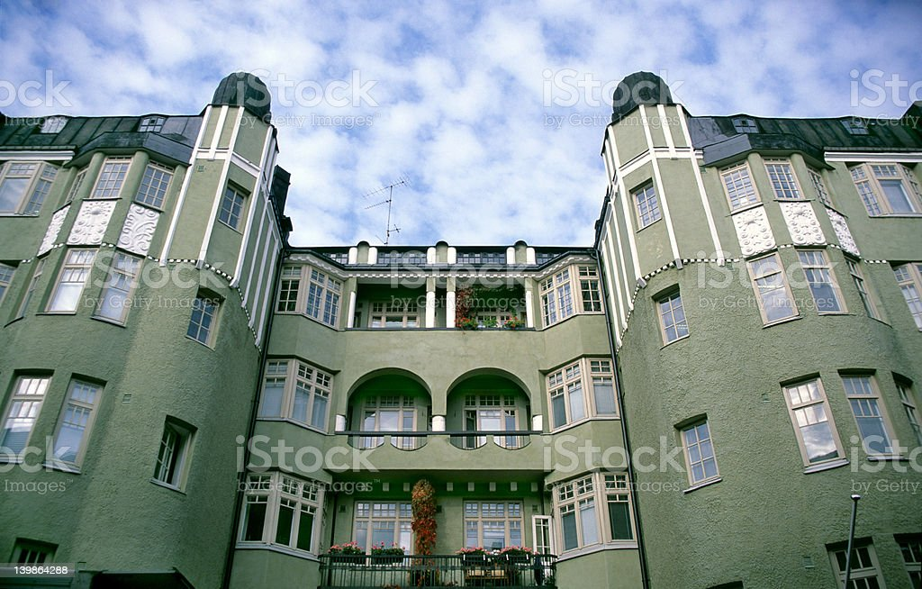 Green Apartement Building royalty-free stock photo