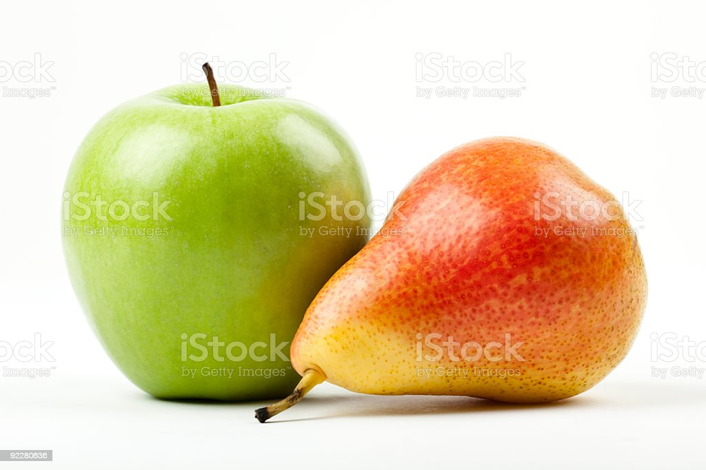 green apple and red pear stock photo