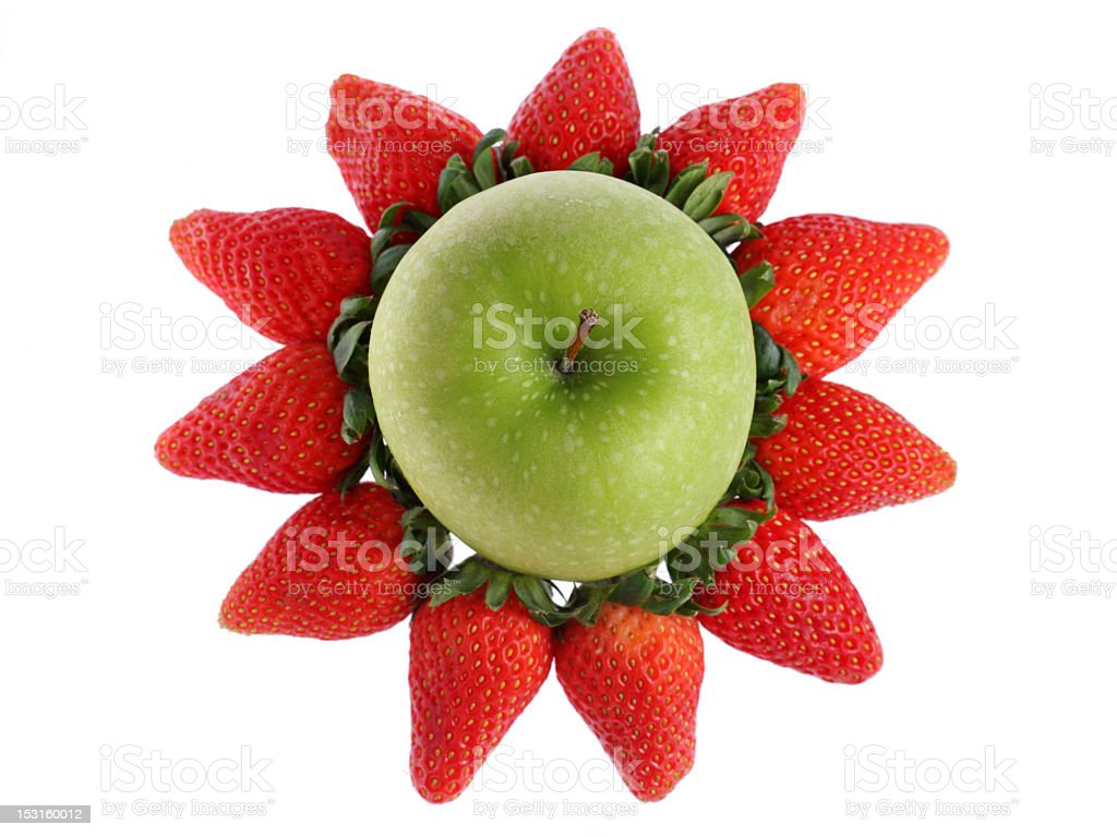 Green Apple and Strawberry royalty-free stock photo