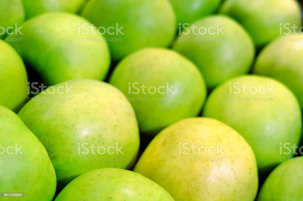 Green Apple Background, shallow depth of field stock photo