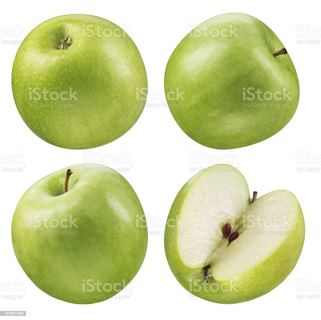 Green apple collection. Set of fruits isolated on white stock photo
