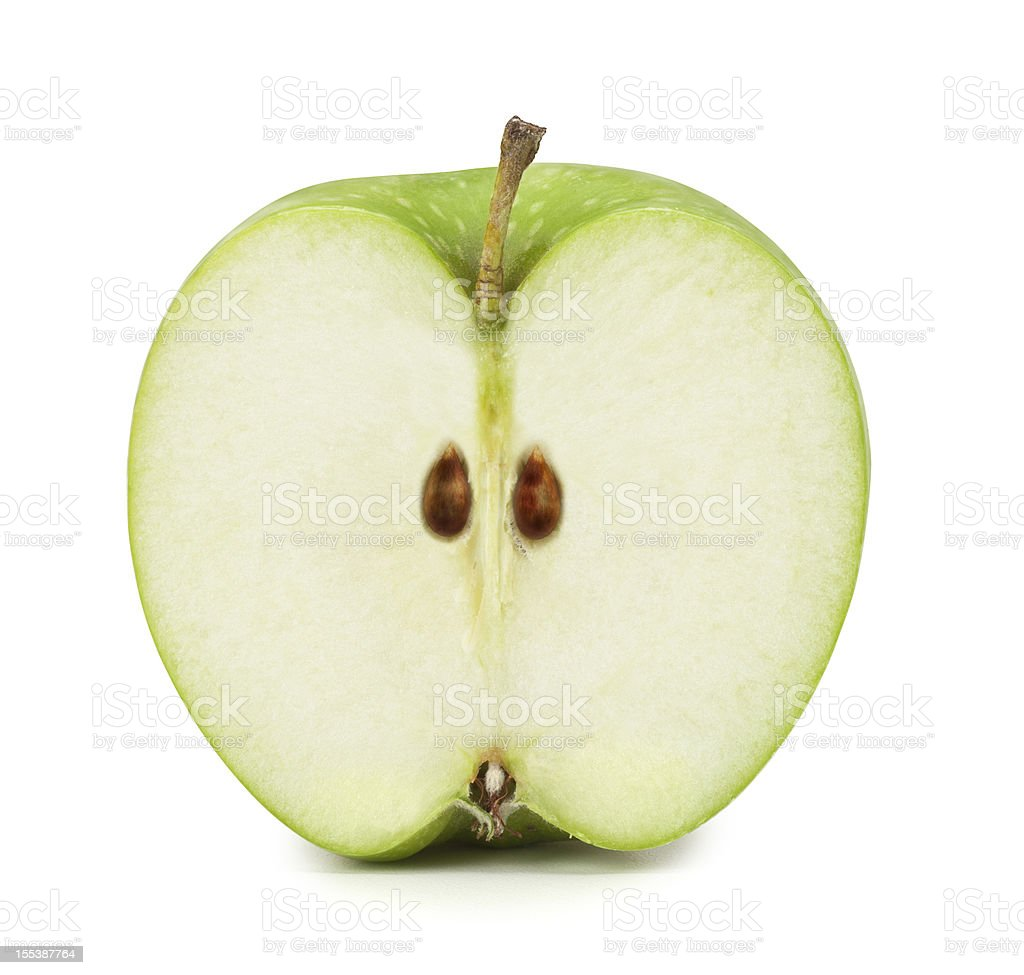 Green Apple cross section. Clipping Path included stock photo