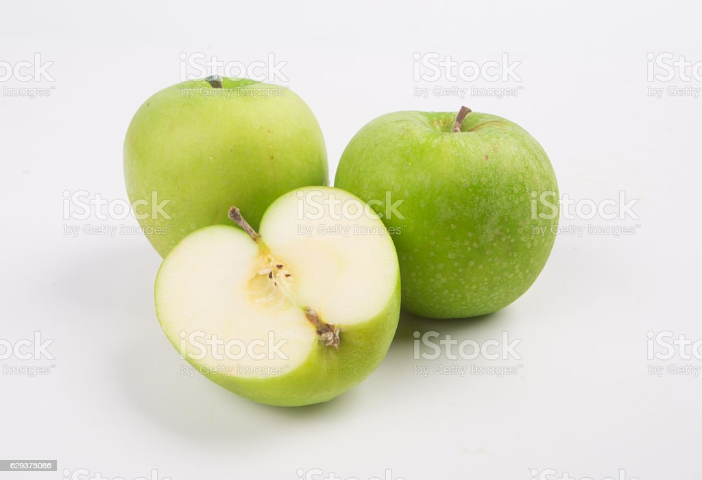 Green apple fruits and  isolated on white background stock photo