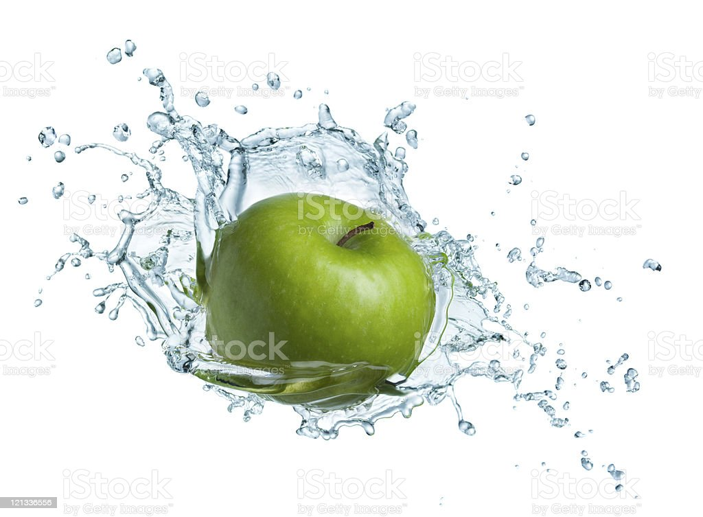 Green apple in water royalty-free stock photo