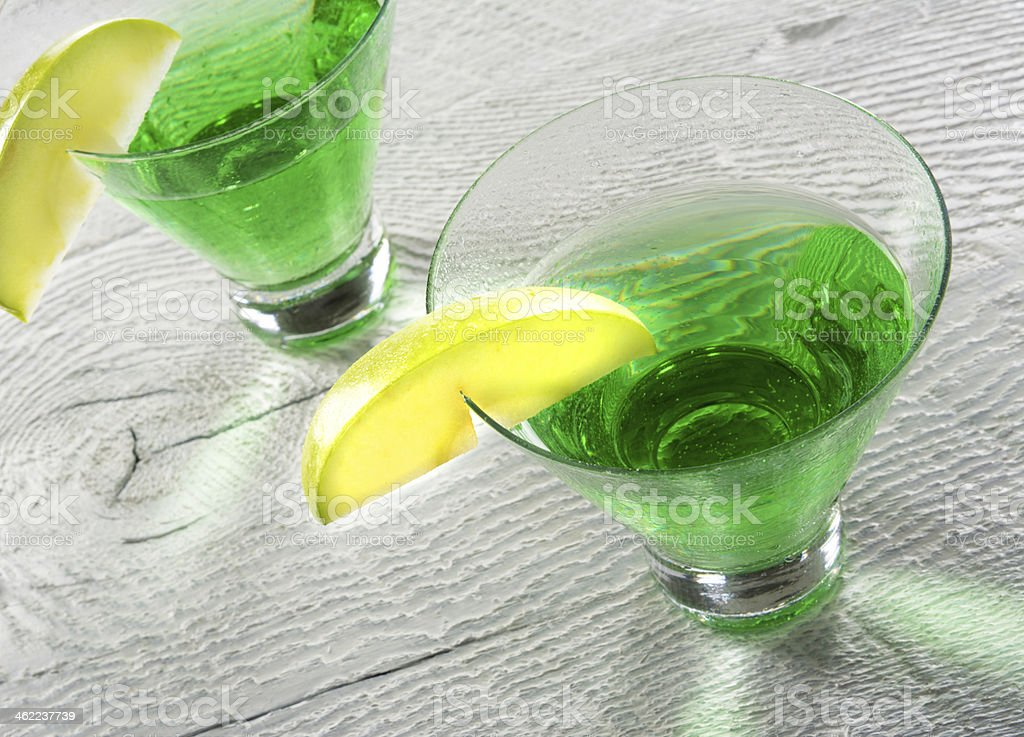 Green Apple Martini Cocktail in Close stock photo