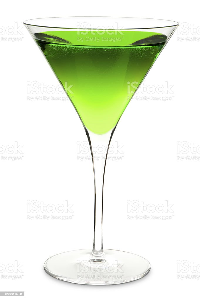 Green Apple Martini Cocktail Isolated on White Background royalty-free stock photo