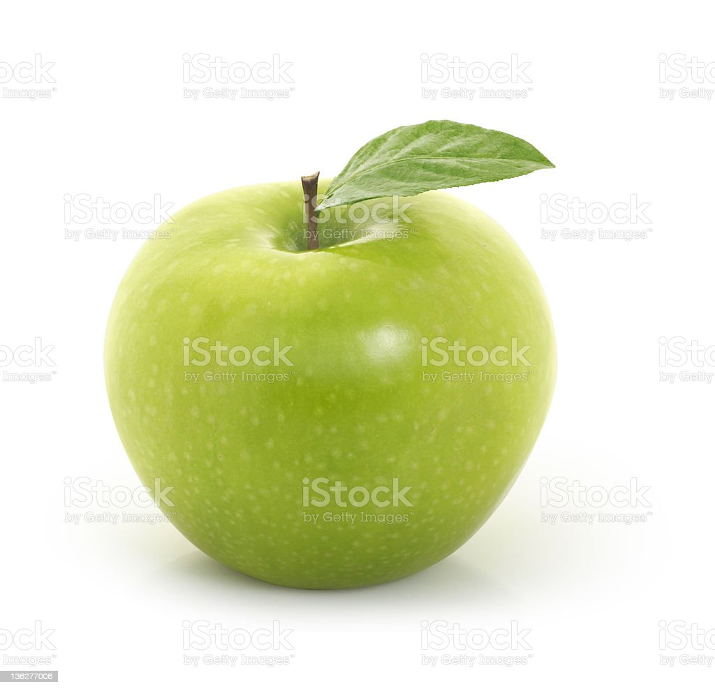 green apple on white background stock photo