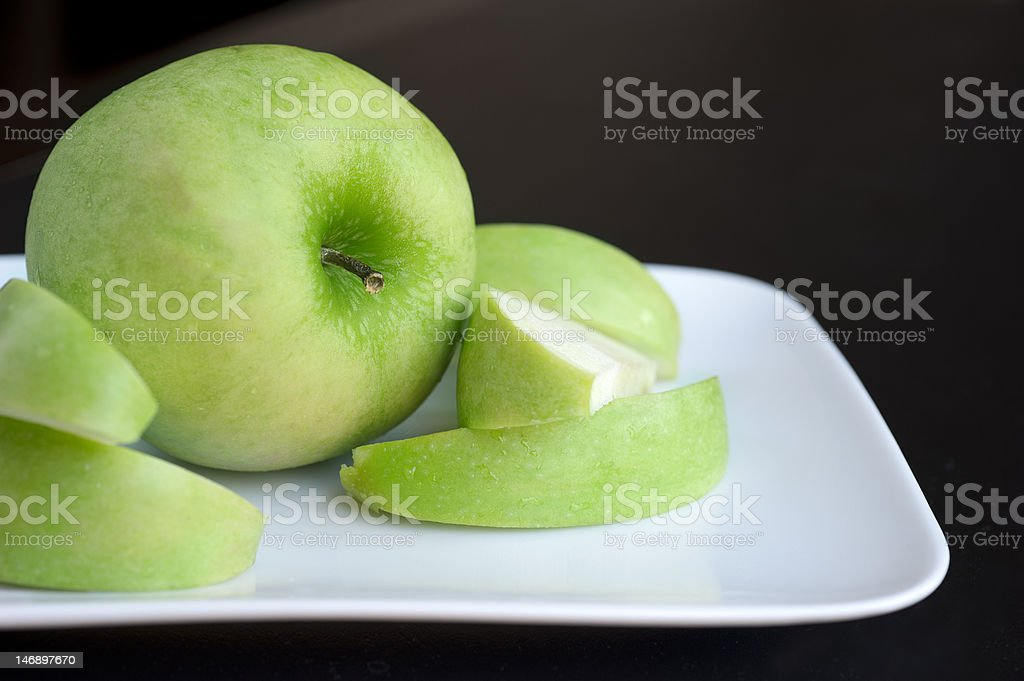 Green Apple Plate royalty-free stock photo
