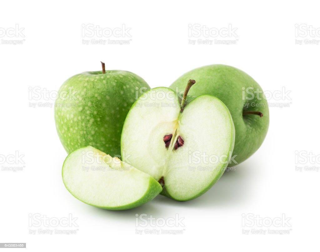 Green Apple , slice , isolated stock photo