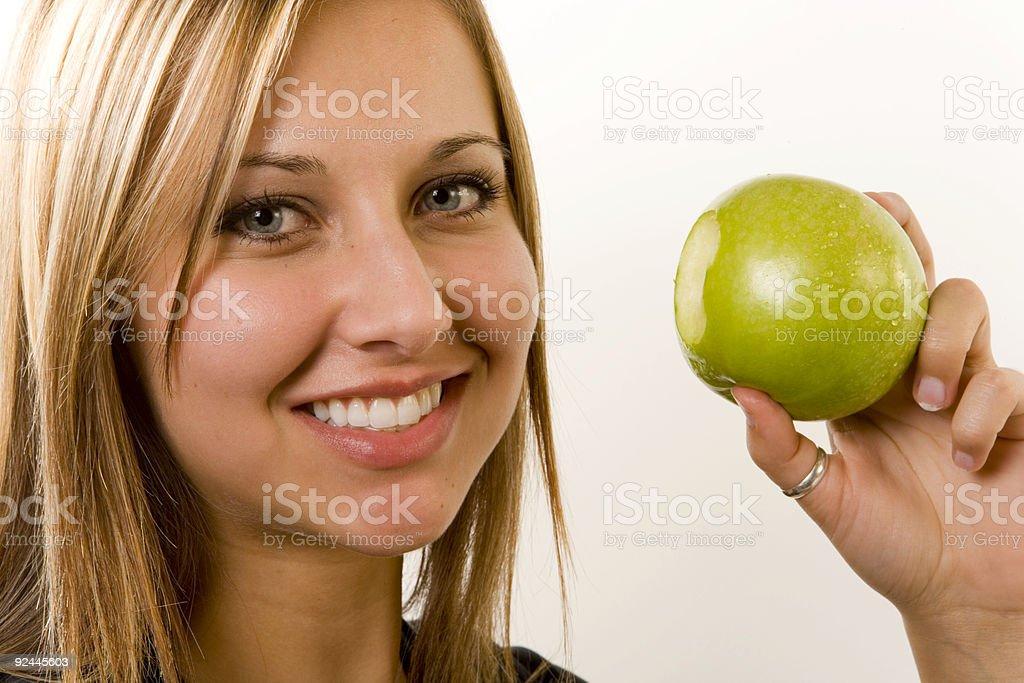Green Apple / Take a Bite stock photo