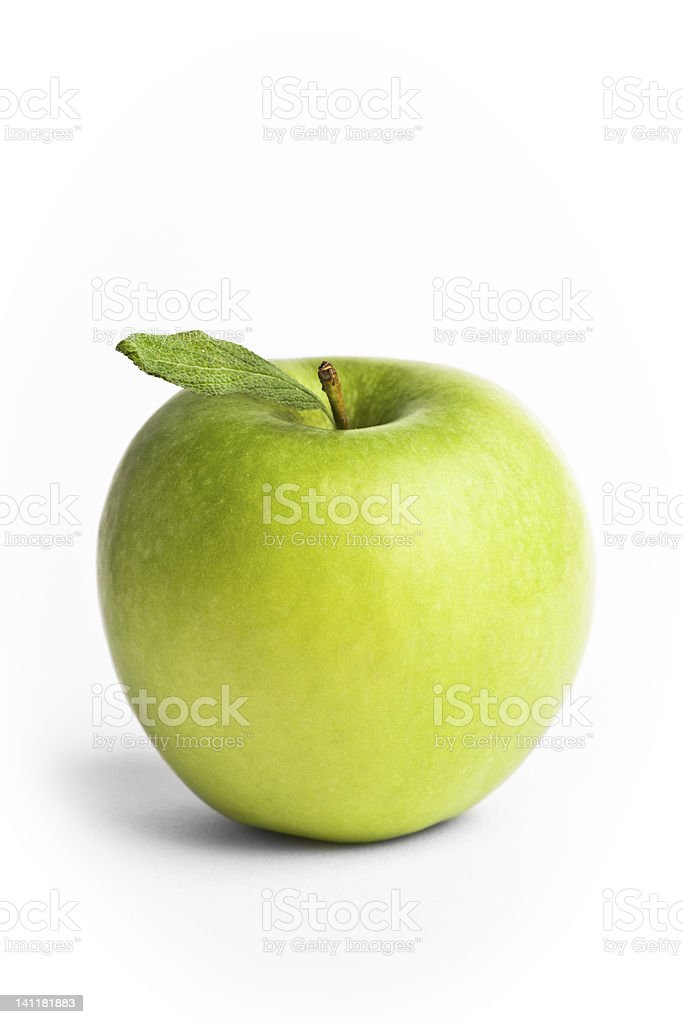 Green apple with a leaf stock photo