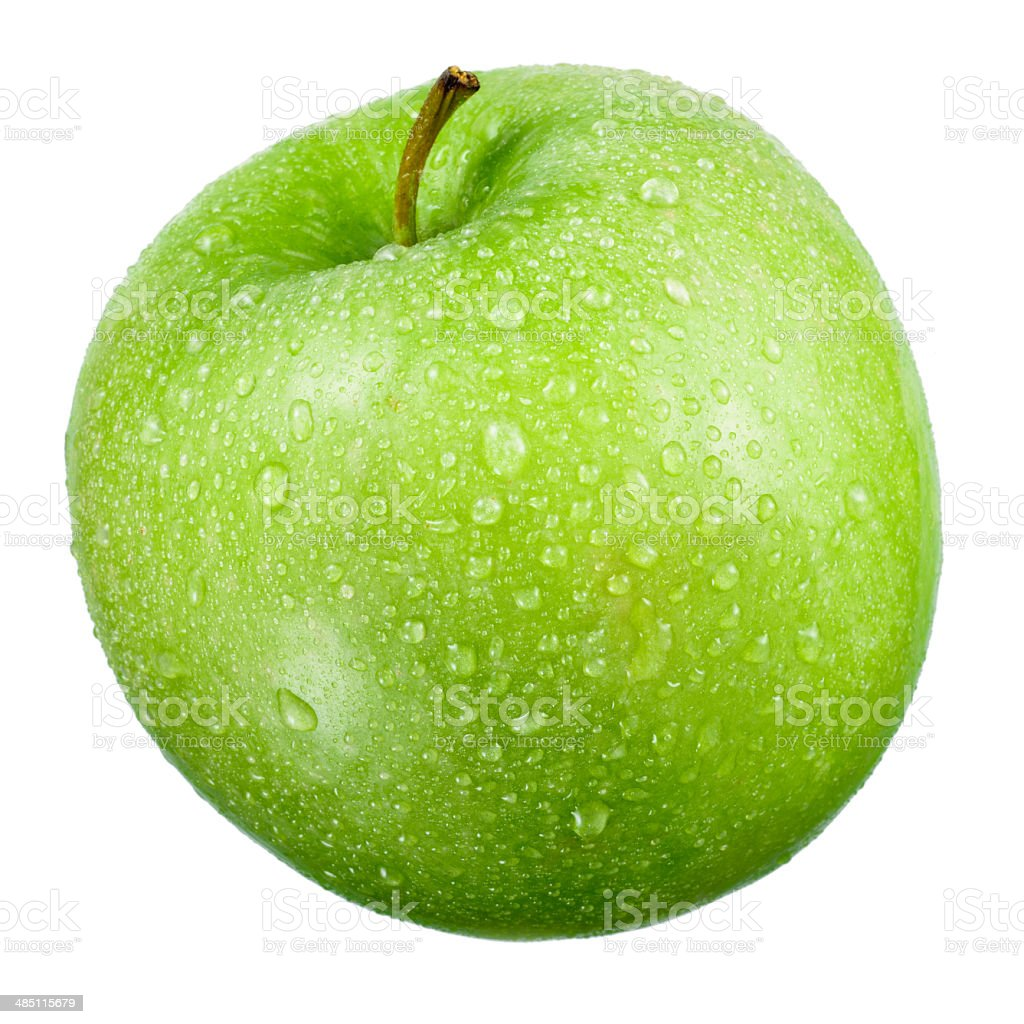 Green apple with drops isolated on white stock photo