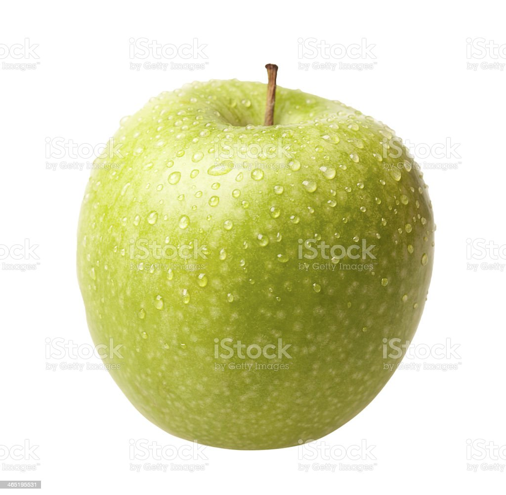 Green apple with drops isolated stock photo