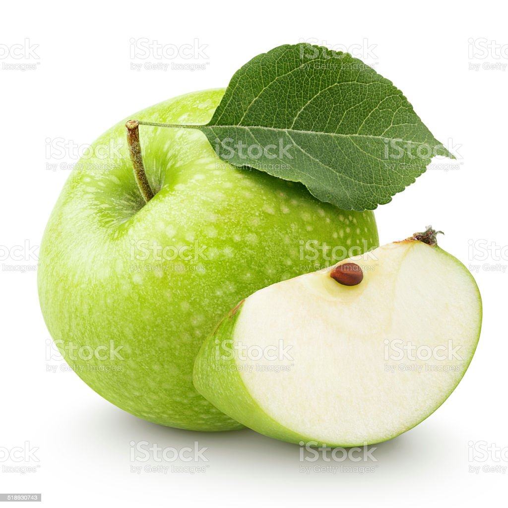 Green apple with leaf and slice isolated on a white stock photo