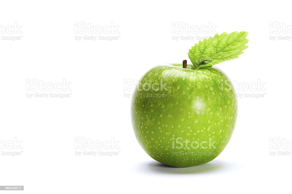 Green Apple with Leave royalty-free stock photo
