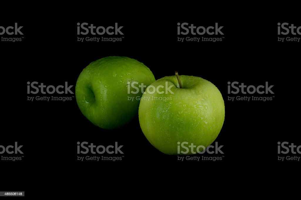 Green Apples On Black Background royalty-free stock photo