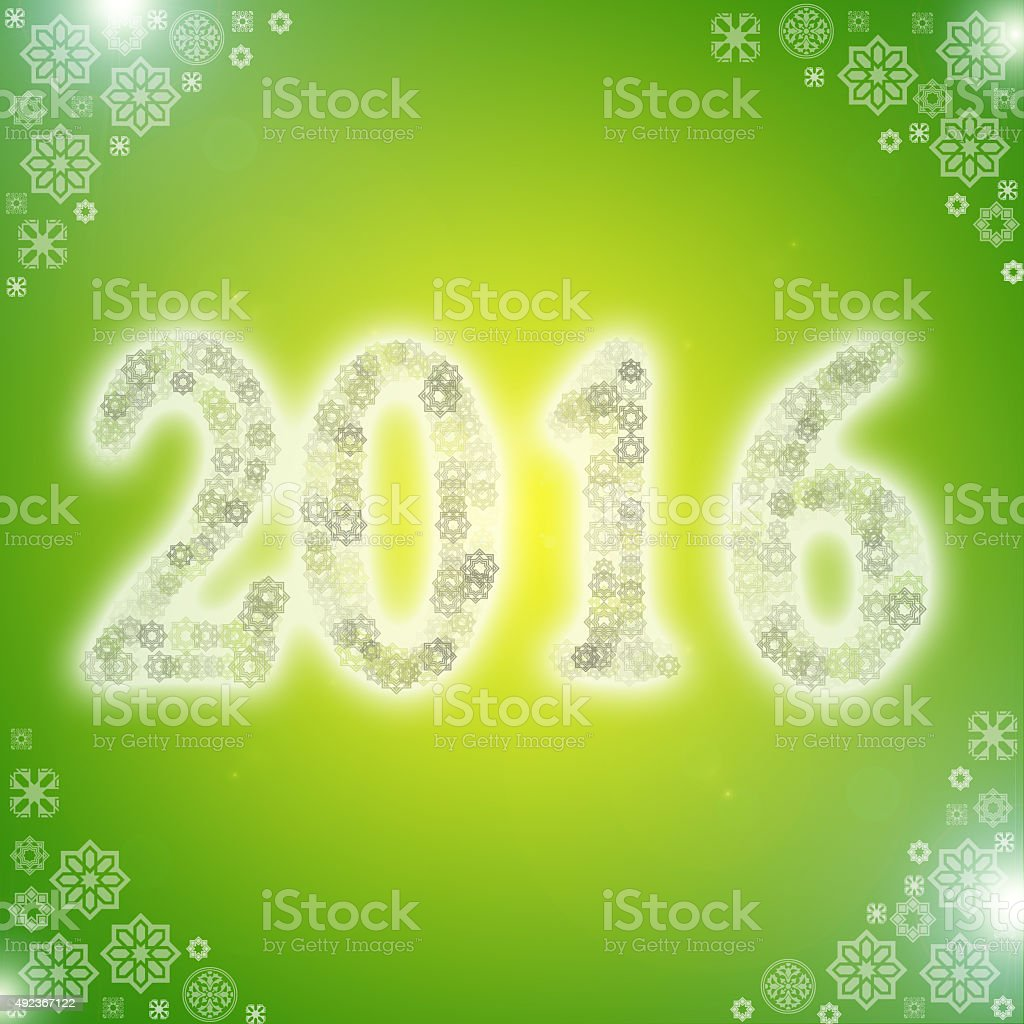 green arabic style 2016 new year greeting card with arabesque royalty free stock photo
