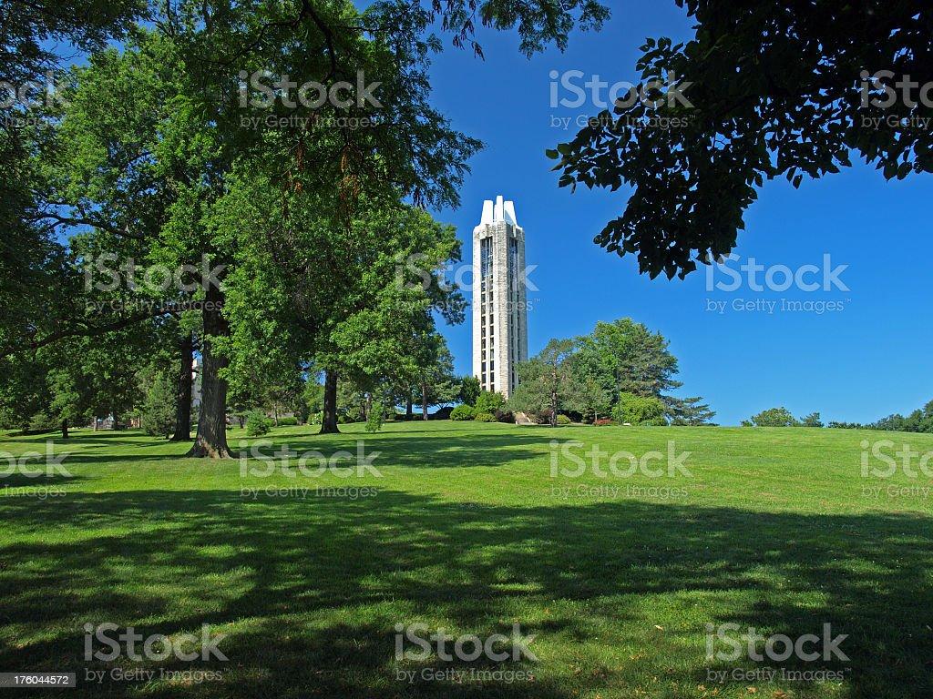 A green area with a memorial Campanile stock photo