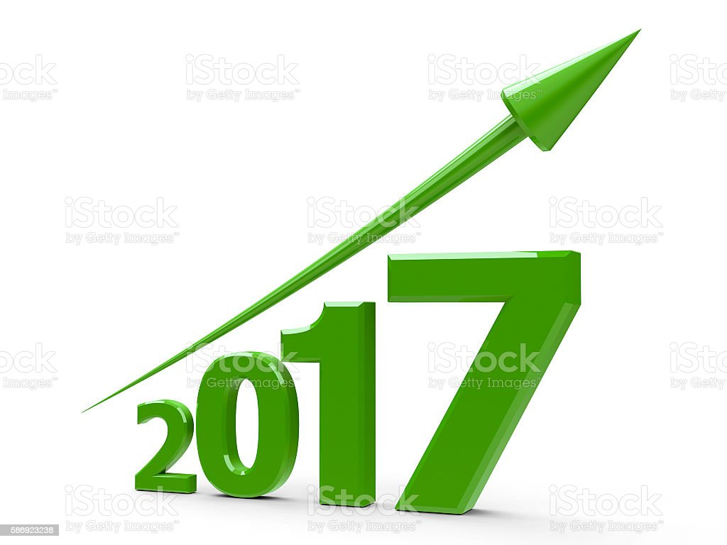 Green arrow up with 2017 stock photo