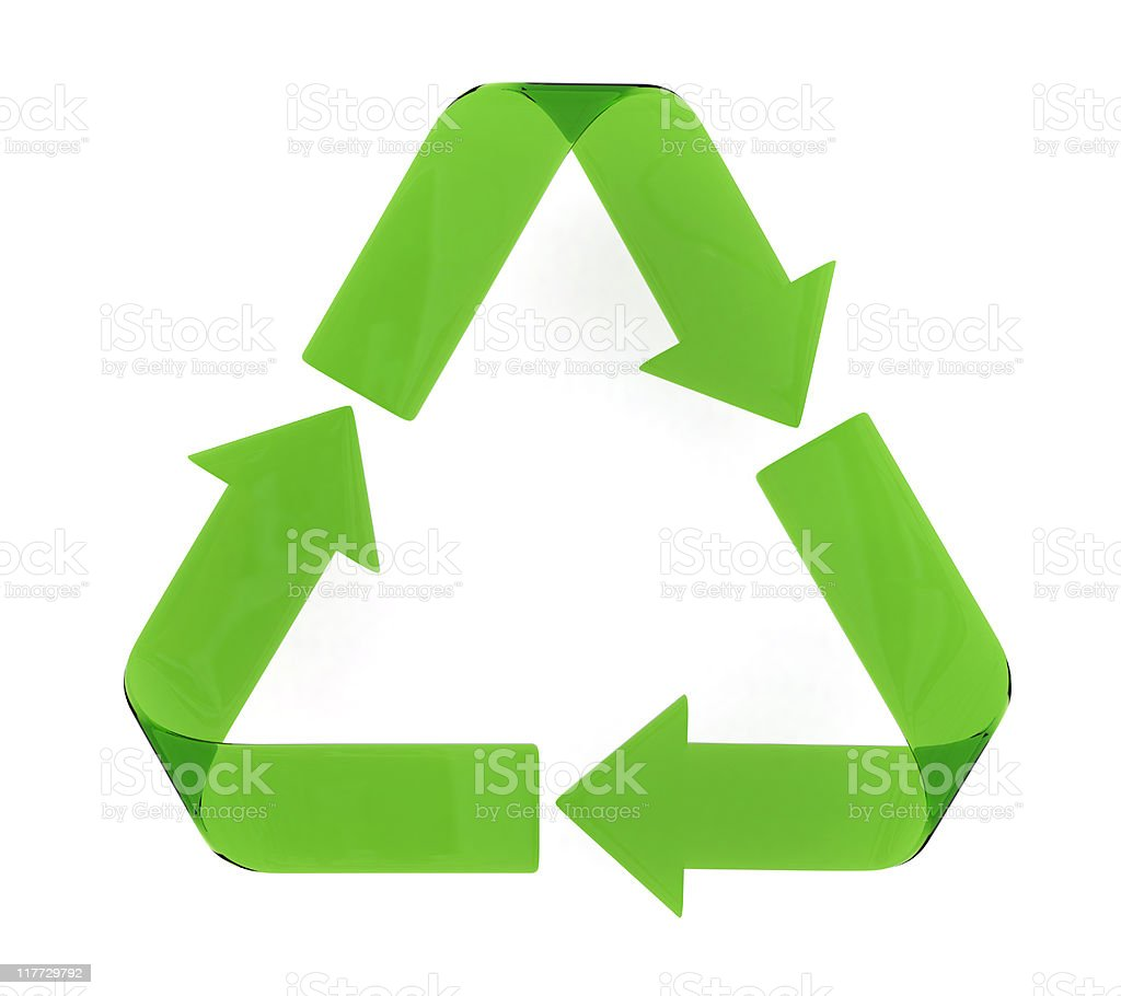 Green arrowed triangle recycle symbol royalty-free stock photo