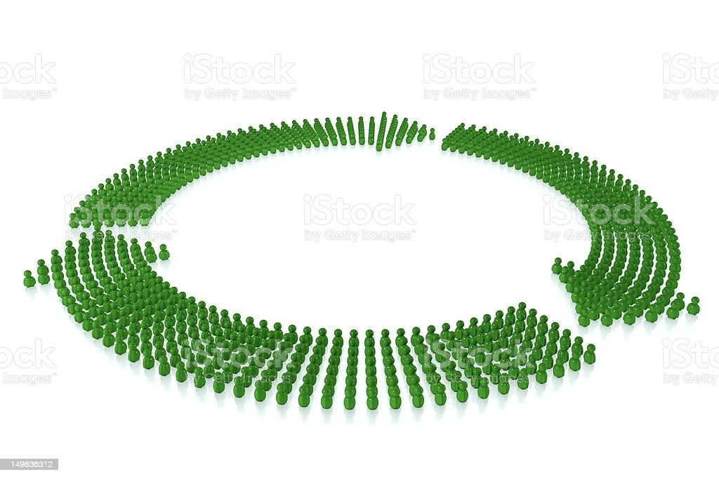 Green arrows formed by 3d stylized human stock photo