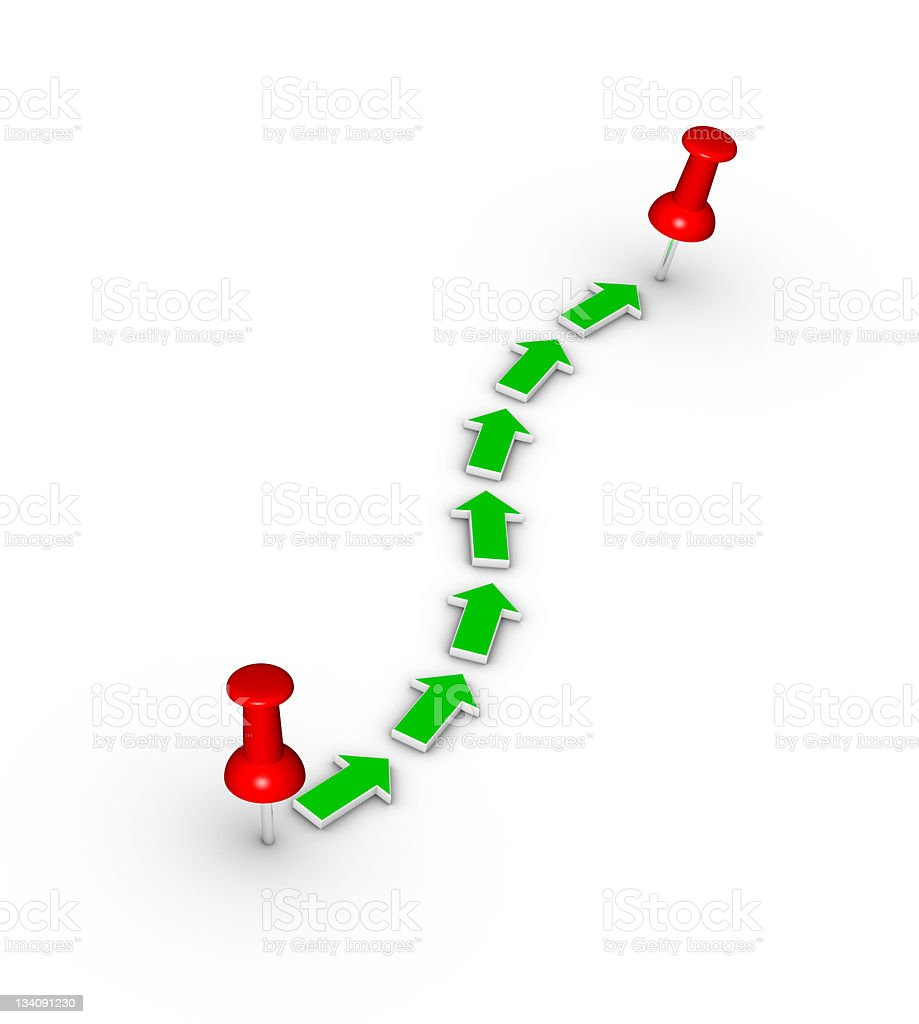 Green arrows showing route between two push pins royalty-free stock photo