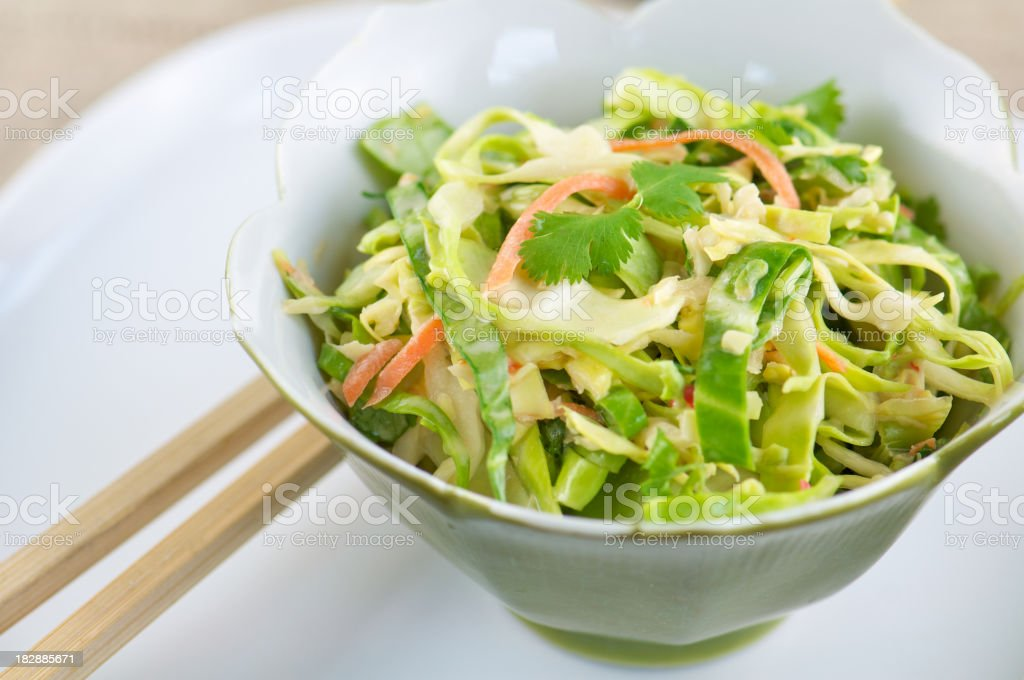 Green Asian Bowl of Shredded Cabbage Cole Slaw stock photo