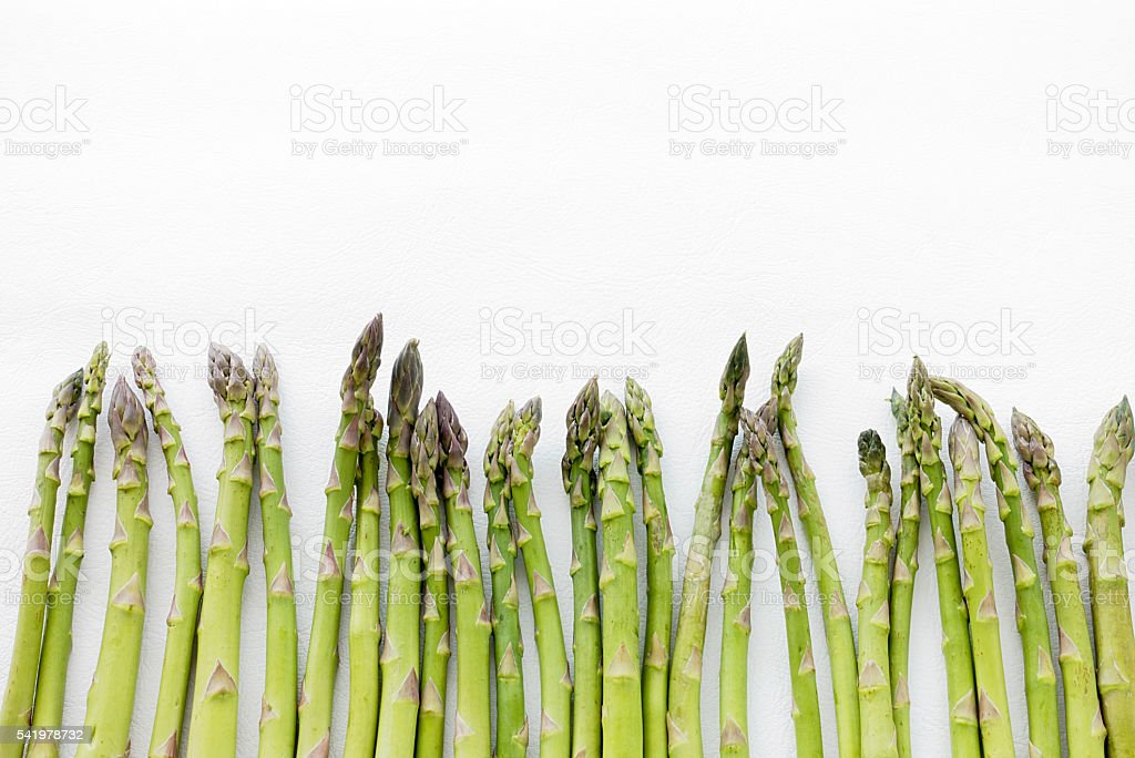 Green Asparagus Spears isolated on White Background stock photo