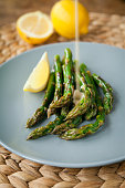 Green asparagus with butter  lemon sauce.