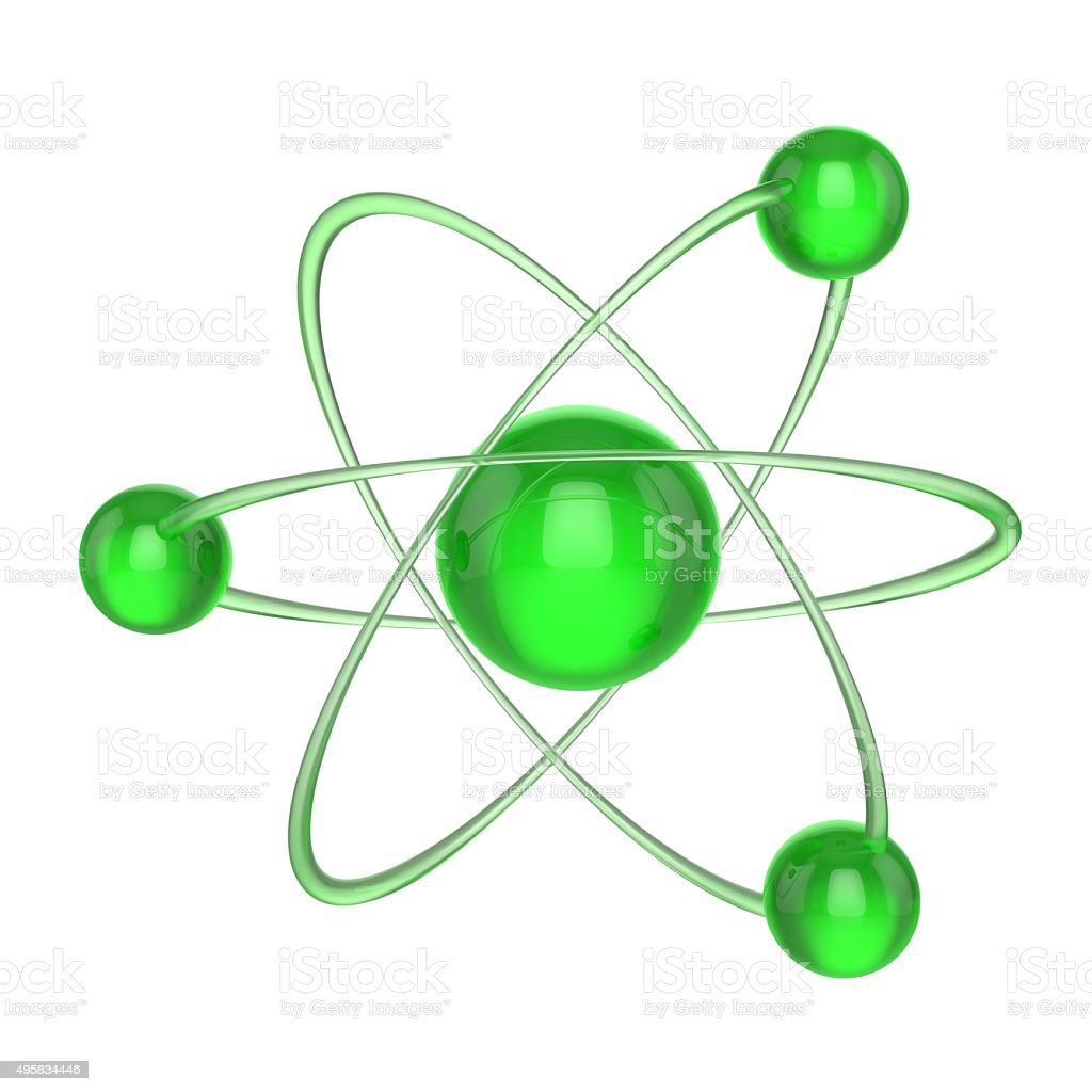 Green atom stock photo