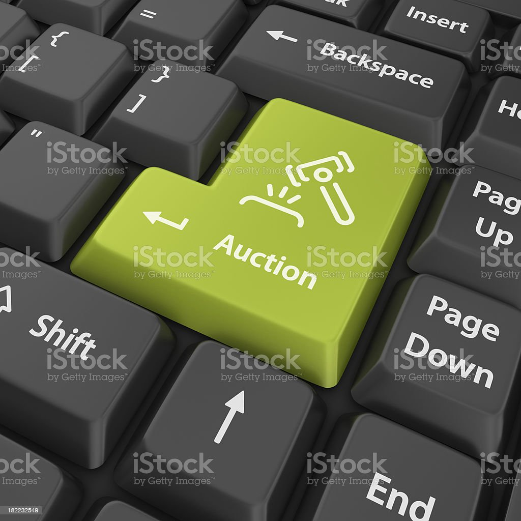 green auction enter button royalty-free stock photo
