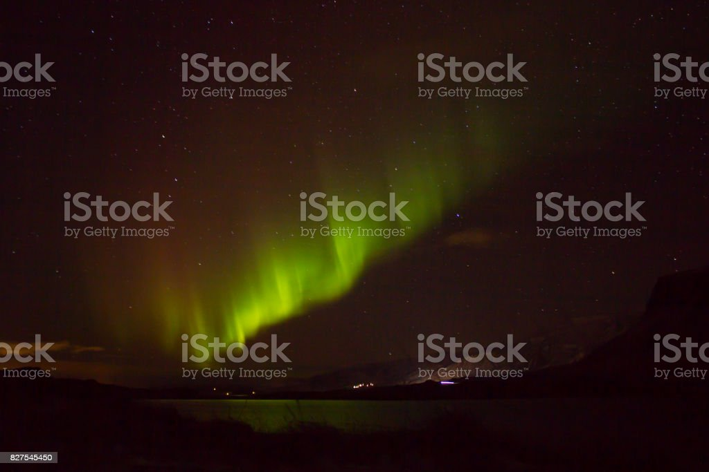Green aurora covered Iceland stock photo