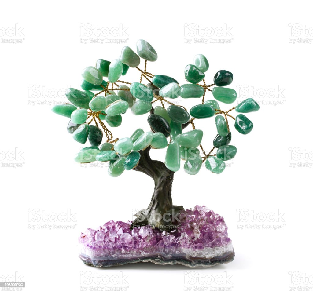 Green aventurine money tree stock photo