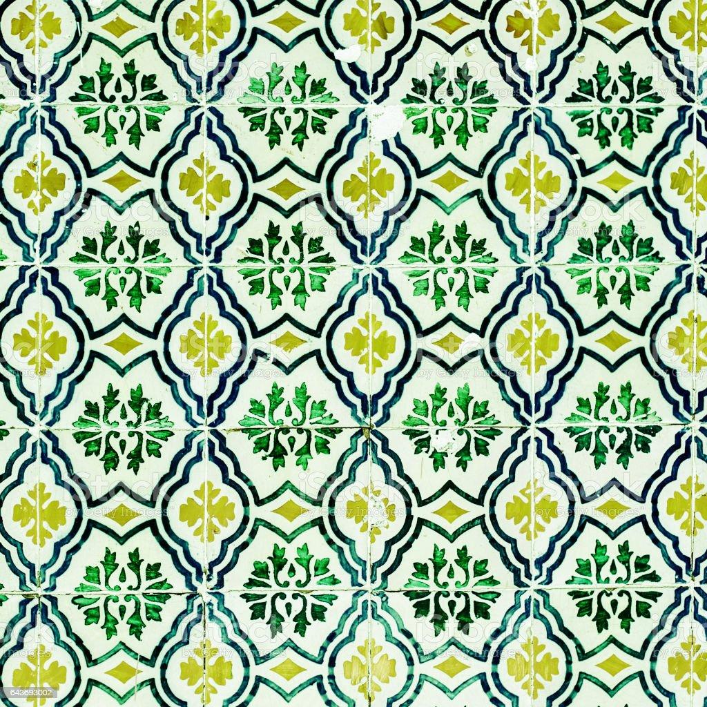 Green Azulejo background, portuguese or moroccan, tiles, arabic wall design stock photo
