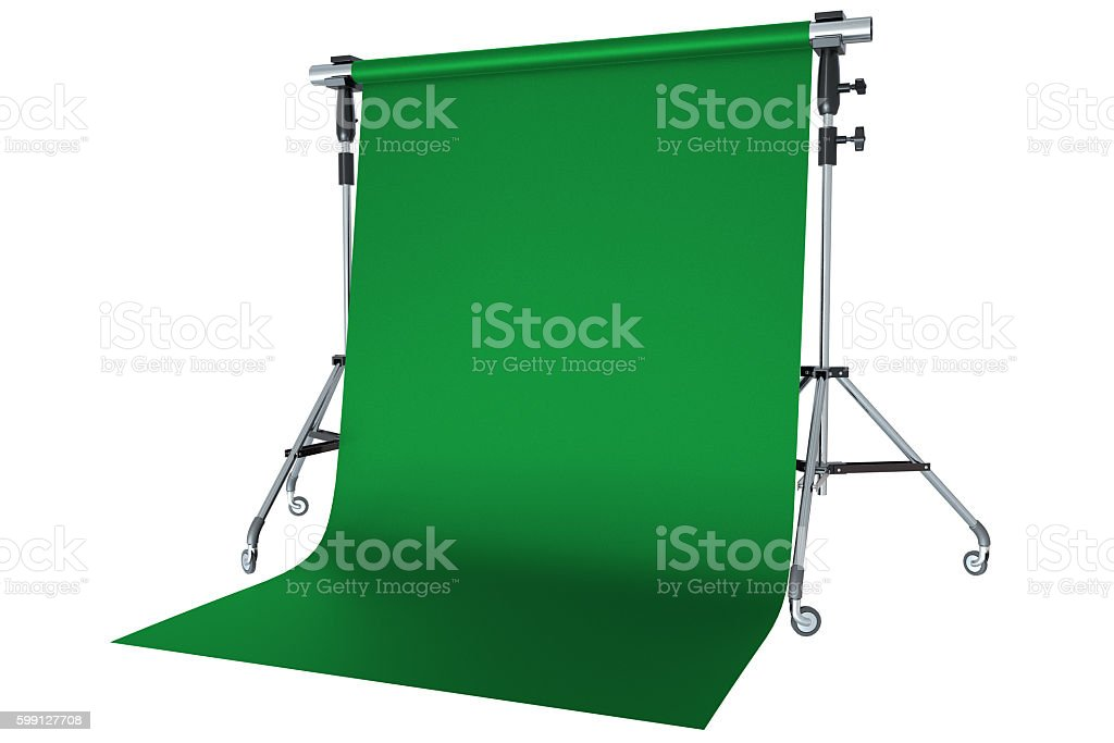 Green backdrop on tripod with white background stock photo