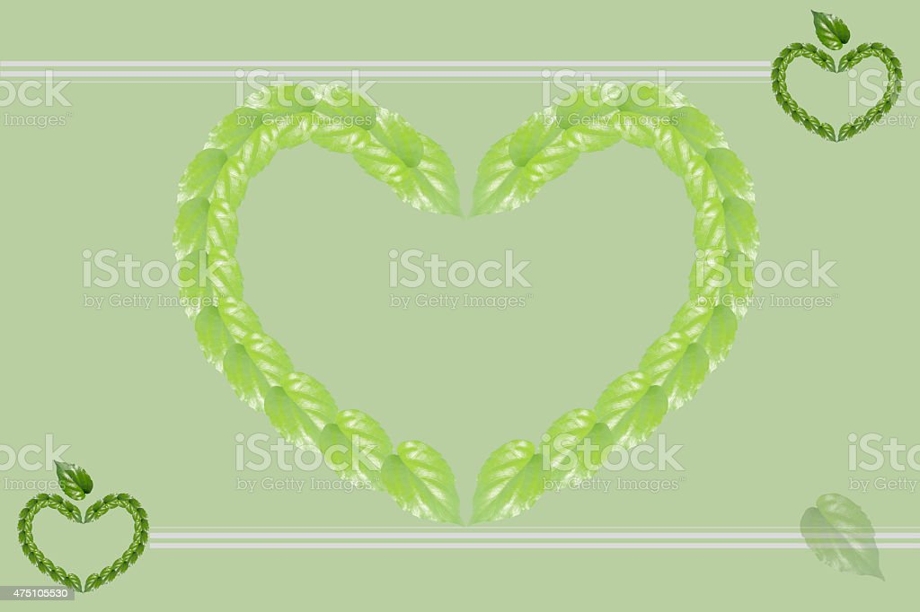 Green background.  Heart shape compose of green leafs royalty-free stock photo