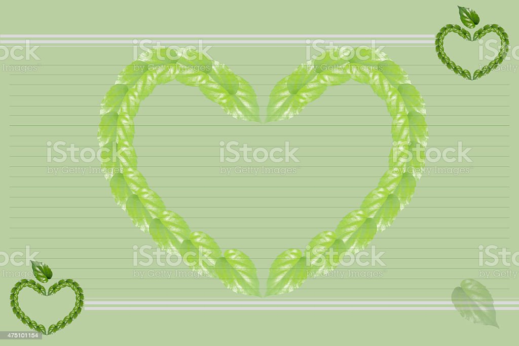 Green background with the lined paper.  Heart shape royalty-free stock vector art